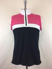 Ralph Lauren Active Womens T-Shirt Pink/White/Black Size XL Sleeveless 1/2Zipper