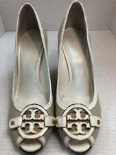 6dade84d4f28c1 TORY BURCH Cream Leather   Woven Fabric Peeptoe Wedge Heels size 11