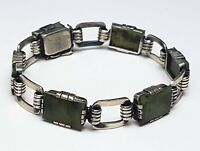 Art Deco Silber Armband 835 Silber punz. Moosachat besetzt 19,5 cm/1,2cm / A 580