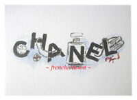 AUTHENTIC CHANEL Sketch Karl Lagerfeld Card Pearl Necklace No. 5 Pin Handbag Bag