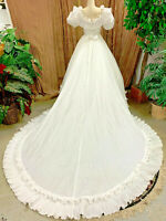 GORGEOUS WHITE PLEATED TAFFETA WEDDING DRESS RENAISSANCE FAIRE GOWN SIZE S