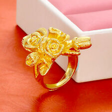 Large Old Fashioned Rose Ring Love Women Real 24K Carved Yellow Gold Filled Gift