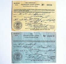 Vintage 1944 Non-Resident & 1945 Resident Michigan Fishing License Lot