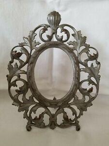 Antique Art Nouveau Cast Iron Metal Victorian Oval Picture Frame Easel Stand