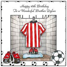 Mens Boys Handmade Personalised Birthday Card  ANY AGE Red & White Football Kit