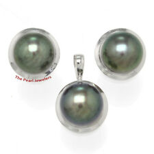 14k White Gold Genuine 9-9.5mm Black Cultured Pearl Earring & Pendant Set TPJ