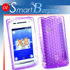 Purple Soft Gel TPU Cover Case Sony Ericsson X8 Xperia