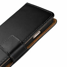 For iPhone 8 Plus 5.5' Black Genuine Real Leather Cash Card Wallet Case Cover