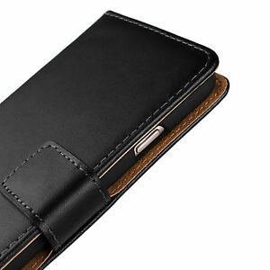 For iPhone 6/6S Black Genuine Real Leather Cash Card Wallet Case Cover Stand