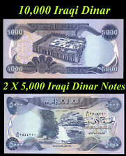 10000 New Iraqi Dinar Crisp Unicrculated 10,000 2 X 5,000 Dinar Notes Lot of 2