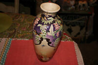 Antique Japanese Asian Moriage Satsuma Hand Painted Vase Birds Flowers Butterfly