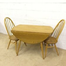 ERCOL MODEL 384 SOLID ELM AND BEECH DROPLEAF DINING TABLE 1960's RETRO VINTAGE 2