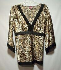 SHE'S COOL Plus Sz 3X Leopard Animal Print Silky Top, Ties in Back, Kimono Slvs