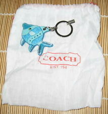 Coach TROPICAL BLUE FISH Fob Key Ring Keychain Leather Authentic Dust Bag