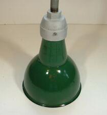 Silva-King 8 in. Porcelain Green Barn Industrial Gas Station Light Vtg Enamel