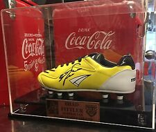 BRAD FITTLER SIGNED BOOT IN DISPLAY CASE