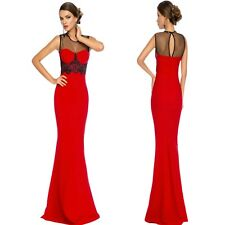 Sz 12 14 Red Black Mesh Sleeveless Formal Cocktail Evening Party Maxidress