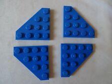 LEGO PART 30503 BLUE 4 x 4 WEDGE PLATES x 4 CUT CORNERS