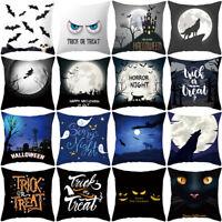 "Halloween Ghost Witch Pumpkin Cushion Cover Skull throw Pillow Case Decor 18"""