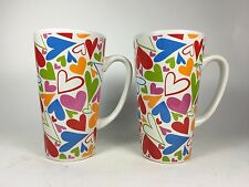 Oversized Coffee Mugs Set of Two with Colorful Hearts
