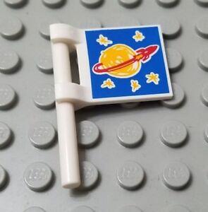 LEGO New White Drawn Classic Space Logo Minifigure Flag Accessory Piece