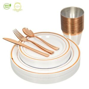 *On SALE* Elegant ROSE GOLD Disposable Dinnerware Set for 26 Guests 156 Pieces