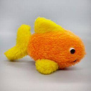 1970s R. Dakin Fish Plush Toy Stuffed Animal Orange Yellow Ocean, Vintage Kids