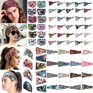 Women Boho Wide Cotton Stretch Headband Turban Sports Yoga Hairband Headwrap K-S