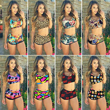 Womens Crop Tops High Waisted Shorts Bikini Set Beach Floral Swimwear Beachwear