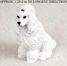 Poodle Mini Resin Hand Painted Dog Figurine Statue Hand Painted White