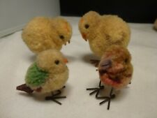 Steiff Woolen Chick Chicken x 4 Yellow Wool Pom Pom Metal feet  BIRDS  CHICKS