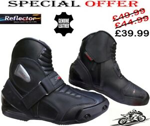 MENS BLACK LEATHER SMART MOTORBIKE MOTORCYCLE RACING SHORT SPORTS SHOES / BOOTS