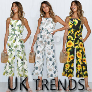UK Womens Summer Floral Print Wide Leg Holiday Jumpsuits Playsuits Culotte 6-14