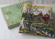 Vintage Mid Century Graphic Fabric Cover Photo Album Rural Scene Stream