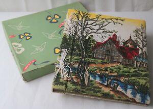 Vintage Mid Century Graphic Fabric Cover Photo Album Rural Scene Stream