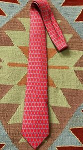 Hermes Silk Tie 5260 SA  Chain Link Red Blue 100% Silk Classic Necktie