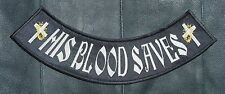 His Blood - Christian MC / MM Biker Vest, Jacket Patch - Bottom or Front Rocker