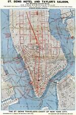 Map. 1870s. Lower Manhattan - Trolley Lines