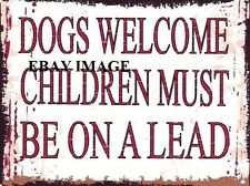 Dogs Welcome Metal Sign Retro Vintage Style Small