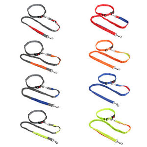 Hands Free Dog Leash Reflective Bungee Lead w/ Double-Lock Clasp Running Lead