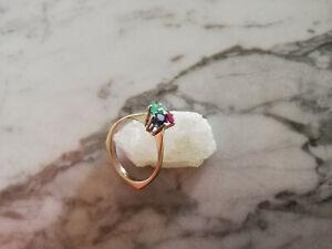 Ring 750 Weißgold mit Saphir, Smaragd und Rubin