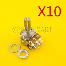 10 pcs B50K Ohm Dual Linear Rotary Potentiometer  Pot 20mm Shaft 6 Pins