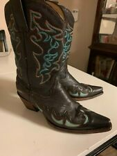 """Corral Dark Brown Leather """"Snip Toe"""" Inlay Cowboy Boots Womens Size 8 M"""