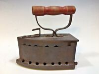 Antique Cast Iron Charcoal Clothes Iron w/Wooden Handle