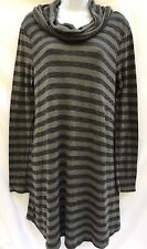 Staccato Cowl Neck Long Tunic Thin Sweater Sz M Green Black Striped New