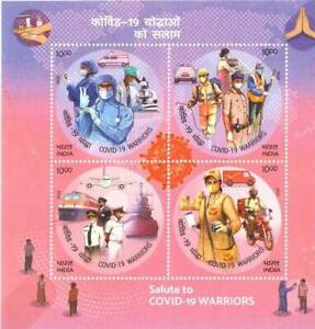 India Plane Train Ship Nurse Medicine Microscope Corona Souvenir Sheet MNH 2020