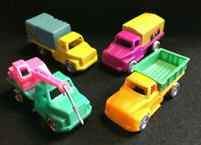 Old Vtg Collectible Plastic Toy Trucks LOT (4) Dump Truck Towing Truck