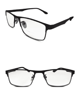 Bifocal Reading Glasses in Atlanta Blue Metal Frame with Aspheric Lenses
