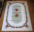"""Vintage Christmas Tablecloth 58"""" x 81"""" + (7) Napkins"""