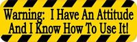 10in x 3in Warning I Have An Attitude Magnet Car Truck Vehicle Magnetic Sign